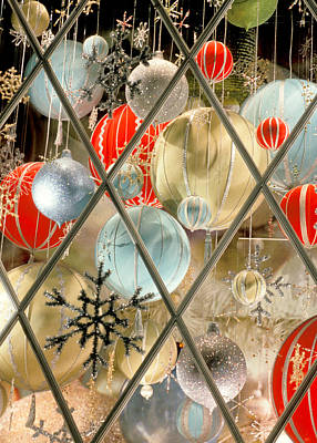 Grate Photograph - Christmas Decorations In Window by Anonymous