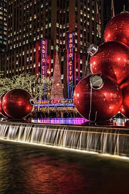 Christmas Decorations Near Radio City Print by F. M. Kearney
