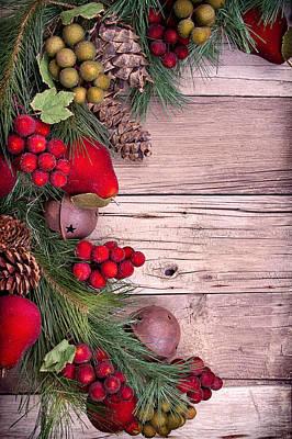 Christmas Decorative Fruit On Wood Print by Jennifer Huls