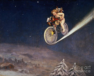 Bicycling Painting - Christmas Delivery by Jose Frappa