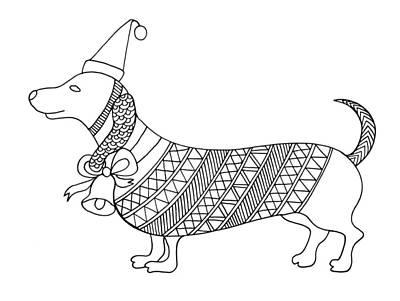 Mandala Drawing - Christmas Dog by Neeti Goswami