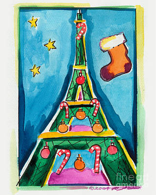 Christmas Eiffel Tower Painting Original by Robyn Saunders