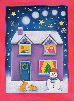 Snowy Night Painting - Christmas Eve by Cathy Baxter