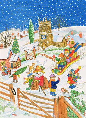 Snow Scene Landscape Painting - Christmas Eve In The Village by Tony Todd