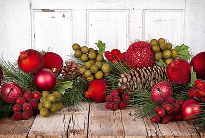 Christmas Fruit On A Wooden Background Print by Jennifer Huls