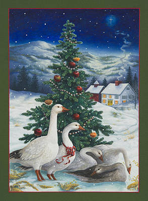 Christmas Geese Print by Lynn Bywaters