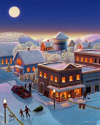Winter Night Painting - Christmas In Harmony by Robin Moline