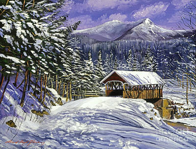 Covered Bridge Painting - Christmas In New England by David Lloyd Glover