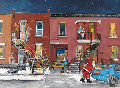 Quebec Painting - Christmas In The City by Reb Frost