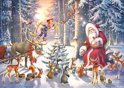 Squirrel Digital Art - Christmas In The Forest by Zorina Baldescu