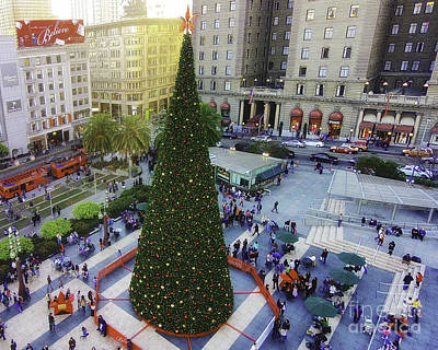 Christmas In Union Square Print by Mel Ashar