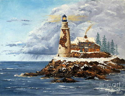 Maine Winter Painting - Christmas Island by Lee Piper