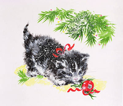 Christmas Tree Drawing - Christmas Kitten by Diane Matthes