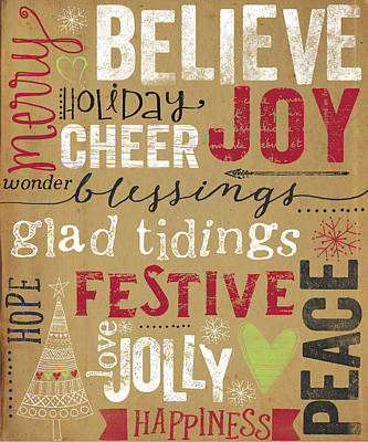 Christmas Painting - Christmas Kraft Typography by Katie Doucette