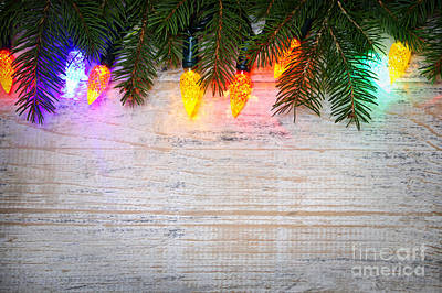 Christmas Lights With Pine Branches Print by Elena Elisseeva