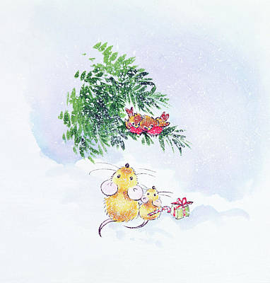 Mouse Painting - Christmas Mice And Robins by Diane Matthes
