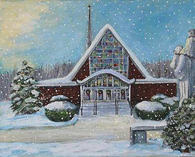Waltham Painting - Christmas Morning At Our Lady's Church by Rita Brown