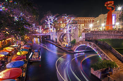 Christmas On The River Walk 3 Print by Paul Huchton