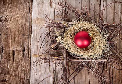 Christmas Ornament In A Nest Print by Jennifer Huls