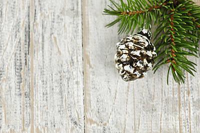 Christmas Ornament On Pine Branch Print by Elena Elisseeva