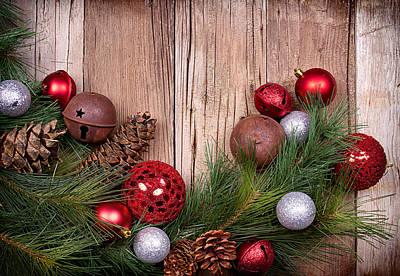 Christmas Ornaments On Wooden Background Print by Jennifer Huls
