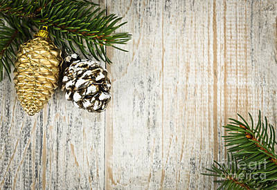 Christmas Ornaments With Pine Branches Print by Elena Elisseeva