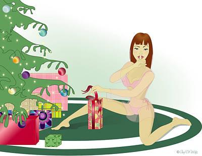 Woman Digital Art - Christmas Peek by Amy De Wolfe