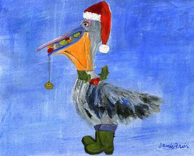 Wildlife Celebration Painting - Christmas Pelican by Jamie Frier