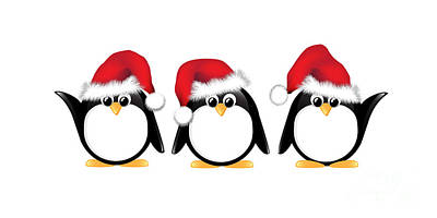Christmas Penguins Isolated Print by Jane Rix