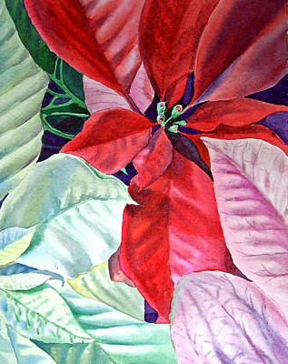 Christmas Greeting Painting - Christmas Poinsettia by Irina Sztukowski
