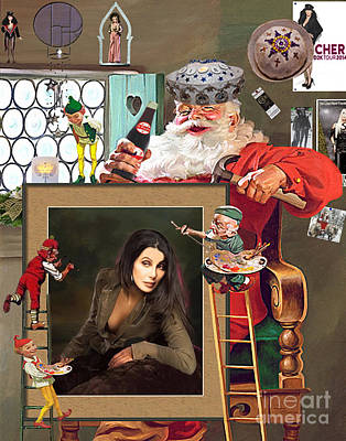 Elf Mixed Media - Christmas Preparation by Donna  Schellack