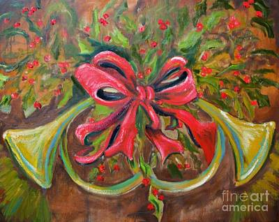 Christmas Red Ribbon Original by Jodi Monahan