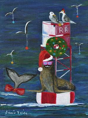 Wildlife Celebration Painting - Christmas Seal And Friends by Jamie Frier