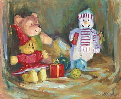 Christmas Teddy Bears Print by David Garrison