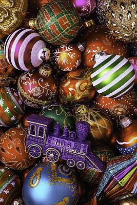 Christmas Train Ornament Print by Garry Gay