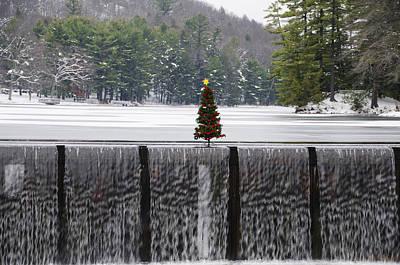 Christmas Tree At Bear Creek Waterfall Print by Bill Cannon