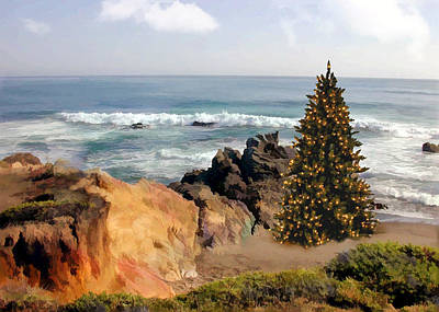 Wreath Painting - Christmas Tree At The Ocean Shoreline by Elaine Plesser