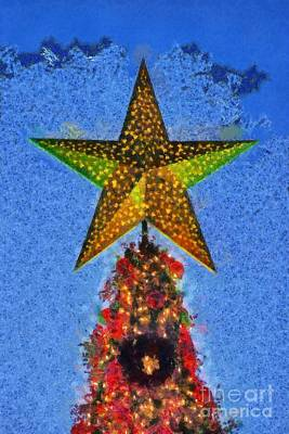 Christmas Star Painting - Christmas Tree By Dusk Time by George Atsametakis