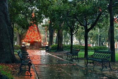 Christmas Tree In Bienville Square Print by Michael Thomas