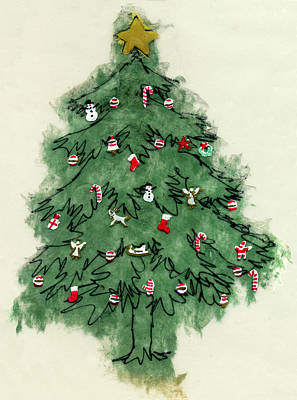 Stockings Painting - Christmas Tree by Mary Helmreich