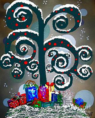 Christmas Tree Swirls And Curls Print by Eloise Schneider