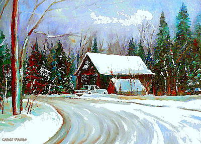 Maine Roads Painting - Christmas Trees Cozy Country Cabin Painting Winter Scene Quebec Painting Canadian Art Cspandau by Carole Spandau