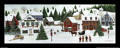 Pine Tree Painting - Christmas Valley Village by David Carter Brown