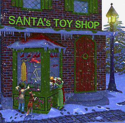 Christmas Window Shopping Print by Ken Morris