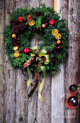 Log Cabin Photograph - Christmas Wreath by Charline Xia