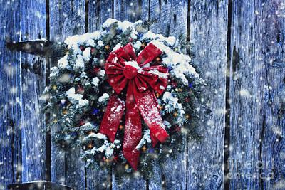 Christmas Wreath In Snow Storm Print by Stephanie Frey