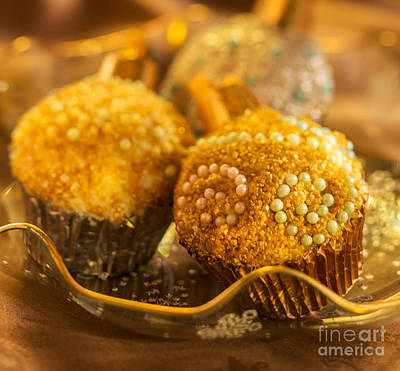 Christmasball Cupcakes In Golds Square Print by Iris Richardson