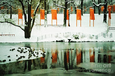 Christo - The Gates - Project For Central Park Reflection In Wat Print by Nishanth Gopinathan