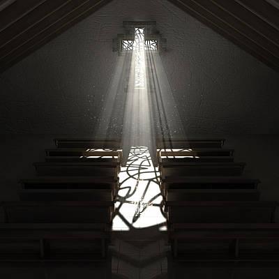 Window Signs Digital Art - Christ's Light In The Dark by Allan Swart