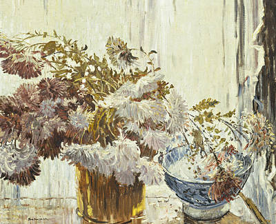 Window Signs Painting - Chrysanthemums by Walter Elmer Schofield